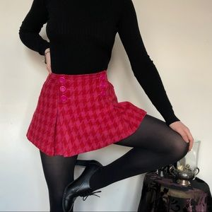 Wool Blend Pink & Red Houndstooth Pleated Skirt